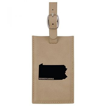 Pennsylvania-State Outline-Leatherette Luggage Tag -Tan