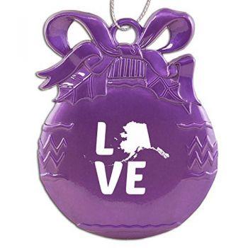Alaska-State Outline-Love-Christmas Tree Ornament-Purple