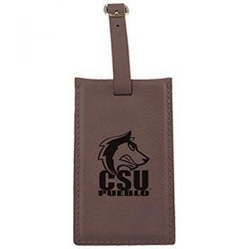 California State University, Pueblo-Leatherette Luggage Tag-Brown