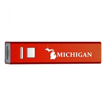 Michigan-State Outline-Portable 2600 mAh Cell Phone Charger-