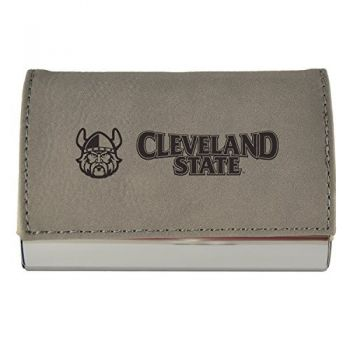 Velour Business Cardholder-Cleveland State University-Grey