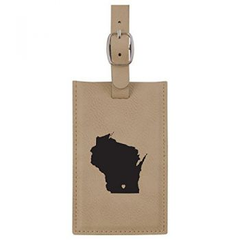 Wisconsin-State Outline-Heart-Leatherette Luggage Tag -Tan