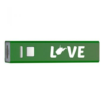West Virginia-State Outline-Love-Portable 2600 mAh Cell Phone Charger-