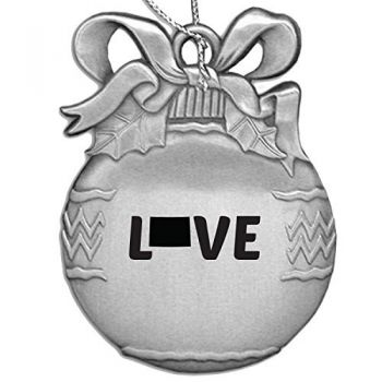 Colorado-State Outline-Love-Christmas Tree Ornament-Silver