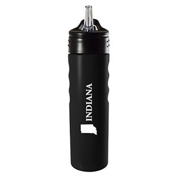 Indiana-State Outline-Stainless Steel Grip Water Bottle with Straw-Black