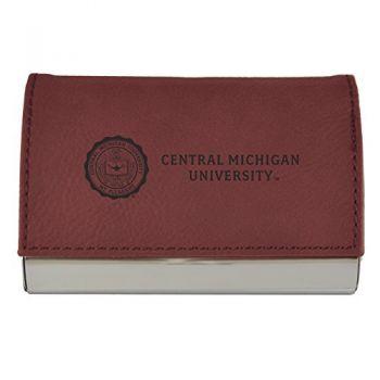 Velour Business Cardholder-Central Michigan University-Burgundy