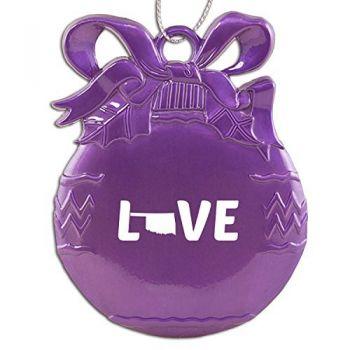 Oklahoma-State Outline-Love-Christmas Tree Ornament-Purple