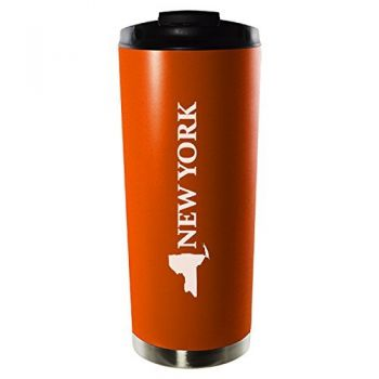 16 oz Vacuum Insulated Tumbler with Lid - New York State Outline - New York State Outline