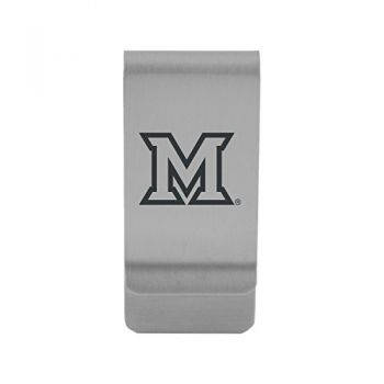 Miami University|Money Clip with Contemporary Metals Finish|Solid Brass|High Tension Clip to Securely Hold Cash, Cards and ID's|Gold