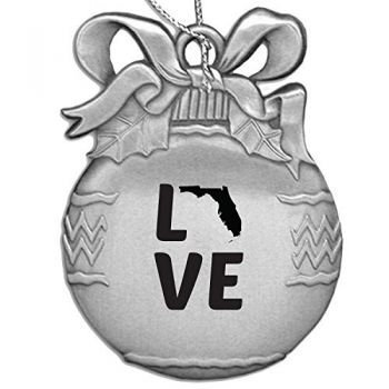Florida-State Outline-Love-Christmas Tree Ornament-Silver
