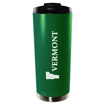 16 oz Vacuum Insulated Tumbler with Lid - Vermont State Outline - Vermont State Outline