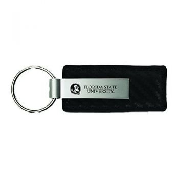 Florida State University-Carbon Fiber Leather and Metal Key Tag-Black