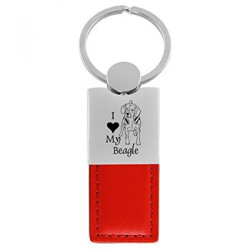 Modern Leather and Metal Keychain  - I Love My Beagle