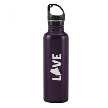 Maine-State Outline-Love-24-ounce Sport Water Bottle-Purple