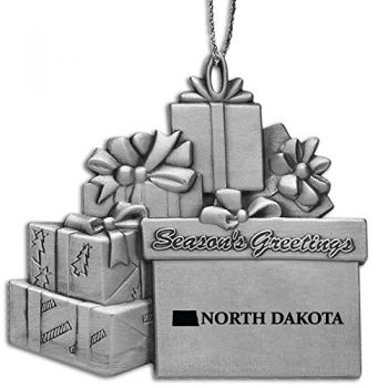North Dakota-State Outline-Pewter Gift Package Ornament-Silver