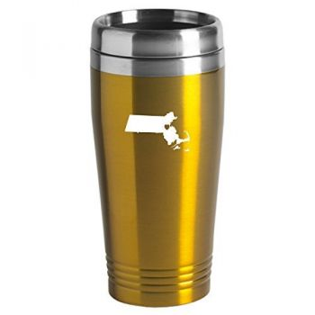 16 oz Stainless Steel Insulated Tumbler - I Heart Massachusetts - I Heart Massachusetts