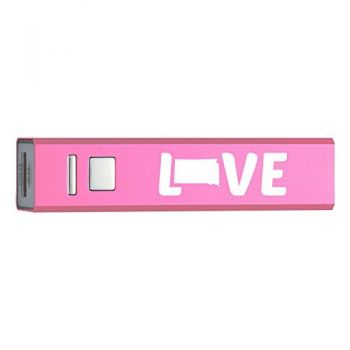 South Dakota-State Outline-Love-Portable 2600 mAh Cell Phone Charger-