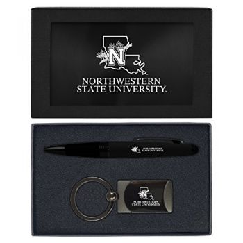 Northwestern State University -Executive Twist Action Ballpoint Pen Stylus and Gunmetal Key Tag Gift Set-Black