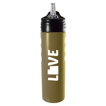 Utah-State Outline-Love-Stainless Steel Grip Water Bottle with Straw-Gold
