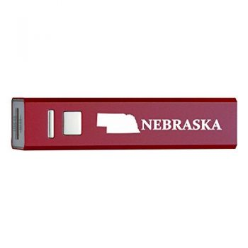 Nebraska-State Outline-Portable 2600 mAh Cell Phone Charger-