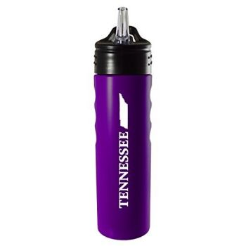 Tennessee-State Outline-Stainless Steel Grip Water Bottle with Straw-Purple