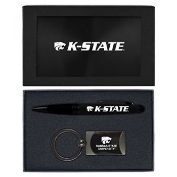 Kansas State University -Executive Twist Action Ballpoint Pen Stylus and Gunmetal Key Tag Gift Set-Black