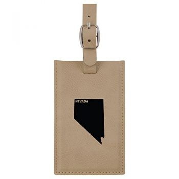 Nevada-State Outline-Leatherette Luggage Tag -Tan