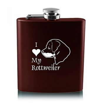 6 oz Stainless Steel Hip Flask  - I Love My Rottweiler