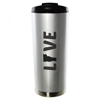 Washington-State Outline-Love-16oz. Vacuum Sealed Travel Mug-Silver