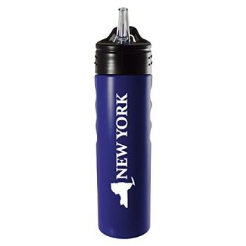 New York-State Outline-Stainless Steel Grip Water Bottle with Straw-Blue
