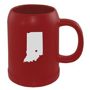 22 oz Ceramic Stein Coffee Mug - I Heart Indiana - I Heart Indiana