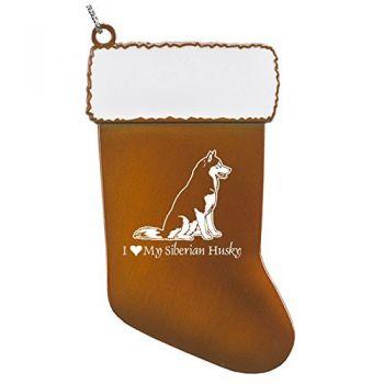 Pewter Stocking Christmas Ornament  - I Love My Siberian Huskie