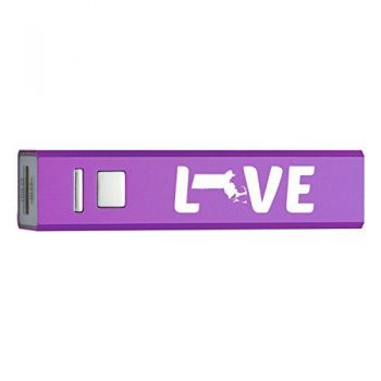 Massachusetts-State Outline-Love-Portable 2600 mAh Cell Phone Charger-