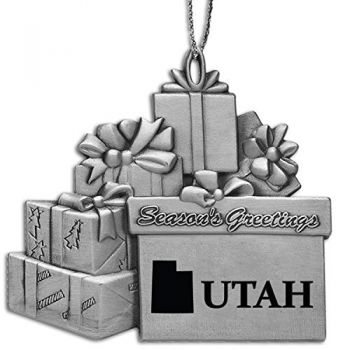 Utah-State Outline-Pewter Gift Package Ornament-Silver
