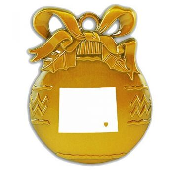 Wyoming-State Outline-Heart-Christmas Tree Ornament-Gold