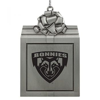 St. Bonaventure Bonnies -Pewter Christmas Holiday Present Ornament-Silver