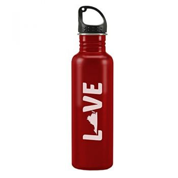 Virginia-State Outline-Love-24-ounce Sport Water Bottle-Red