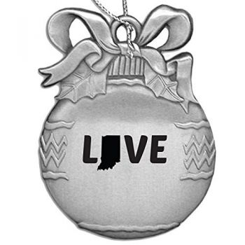Indiana-State Outline-Love-Christmas Tree Ornament-Silver
