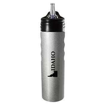 Idaho-State Outline-Stainless Steel Grip Water Bottle with Straw-Silver