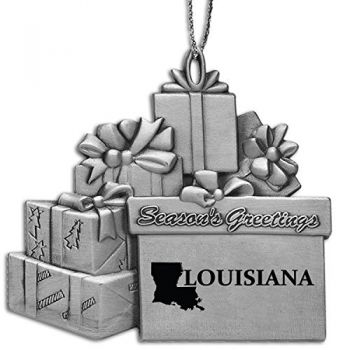 Louisiana-State Outline-Pewter Gift Package Ornament-Silver