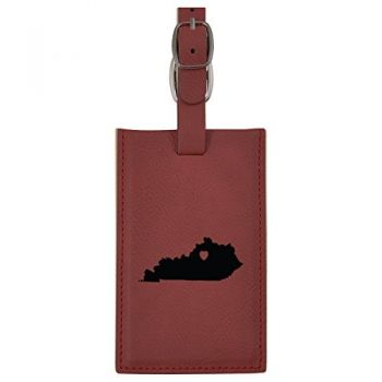 Kentucky-State Outline-Heart-Leatherette Luggage Tag -Burgundy