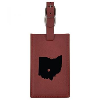 Ohio-State Outline-Heart-Leatherette Luggage Tag -Burgundy
