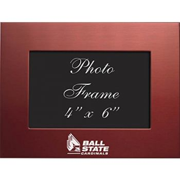 Ball State University - 4x6 Brushed Metal Picture Frame - Red