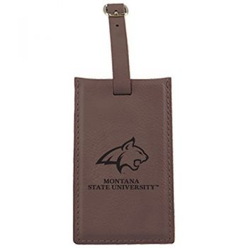 Montana State University -Leatherette Luggage Tag-Brown