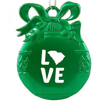 South Carolina-State Outline-Love-Christmas Tree Ornament-Green