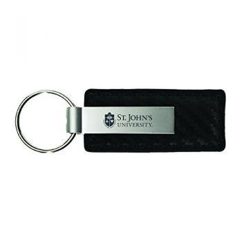 St. John's University-Carbon Fiber Leather and Metal Key Tag-Black