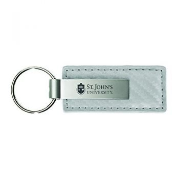 Saint Louis University-Carbon Fiber Leather and Metal Key Tag-White