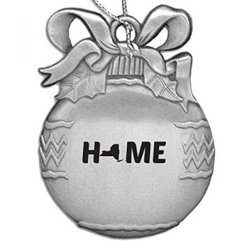 New York-State Outline-Home-Christmas Tree Ornament-Silver