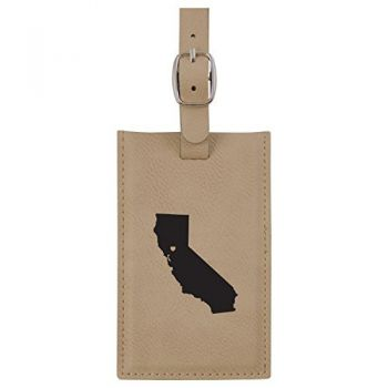 California-State Outline-Heart-Leatherette Luggage Tag -Tan