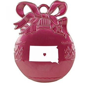 South Dakota-State Outline-Heart-Christmas Tree Ornament-Pink